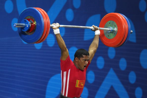 Weightlifter Chinthana Vidanage won one of Sri Lanka's two medals at the 2010 Commonwealth Games in New Delhi ©Getty Images