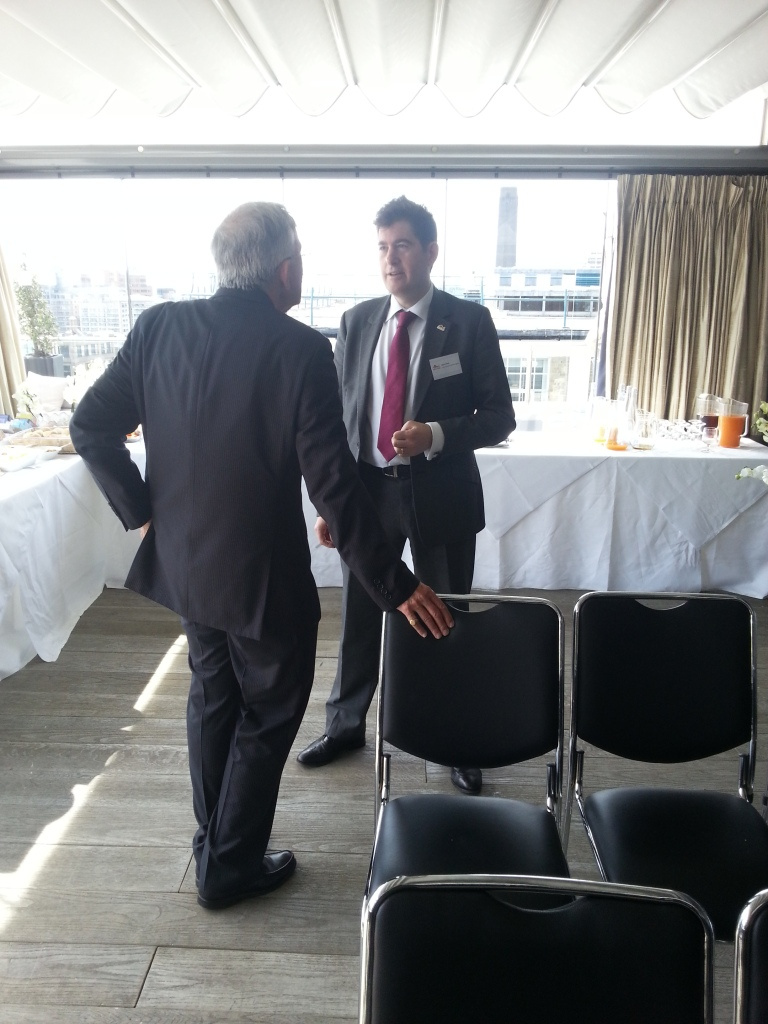"""Commonwealth Games England chief executive Adam Paker (right) wanted to use the breakfast in London to emphasise the """"Englishness"""" that the organisation, and team, represents heading into Glasgow 2014 ©ITG"""