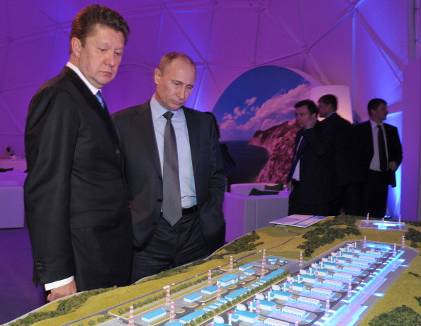 Gazprom chief executive Alexei Miller, pictured earlier this year with Russian President Vladimir Putin, is among the reported recipients of the medals ©AFP/Getty Images