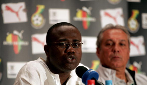 Ghana Football Association President Kwesi Nyantakyi (left), has denied agreeing to allow the national team to play in matches that others were planning to fix ©AFP/Getty Images