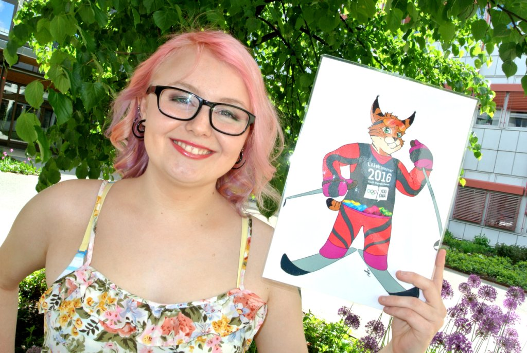 Line Ansethmoen won the mascot design competition with her lynx design after being encouraged to participate by her mother ©Lillehammer 2016