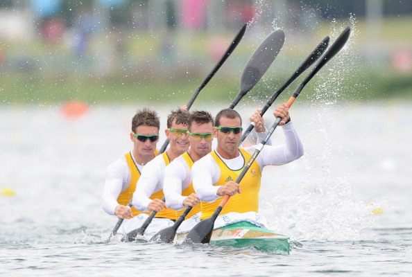 London 2012 K-4 1,000 metres gold medallist David Smith (second from front) is among the 60 Olympians mentoring Australia's athletes preparing to compete at Nanjing 2014 ©Getty Images