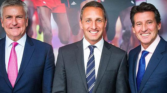 Martin Seibold, UK managing director of Fitness First, in between Bill Sweeney and Sebastian Coe following the announcement ©BOA