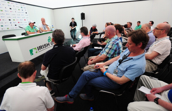Rory McIlroy announces his long-awaited decision over the Rio 2016 Games to the media on the eve of the Irish Open - he would play in Brazil for Ireland rather than Britain ©Getty Images