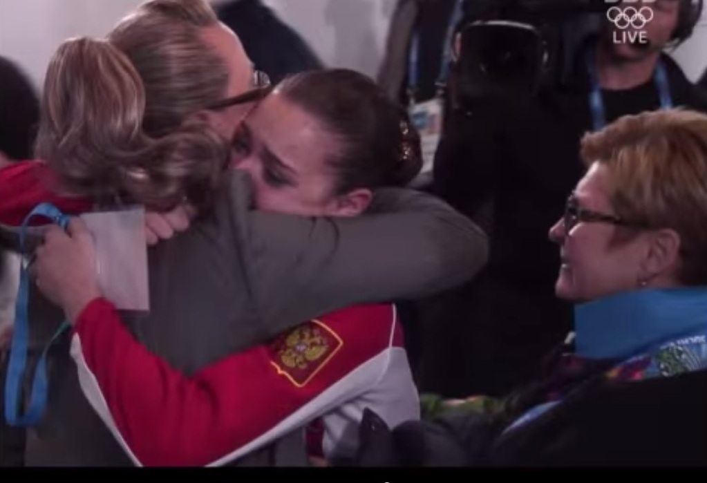 South Korean officials had complained that Alla Shekhovtseva had hugged Adelina Sotnikova after she was awarded the gold medal, allegedly showing a lack of independence on the part of the Russian judge ©YouTube