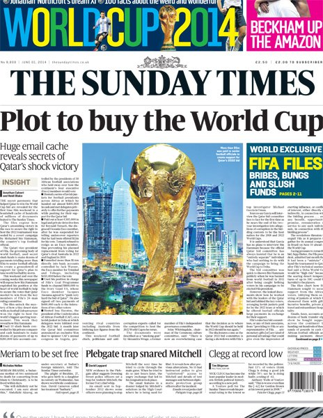 The latest allegations in The Sunday Times cast further doubt over Qatar's successful bid to host the 2022 FIFA World Cup ©Sunday Times