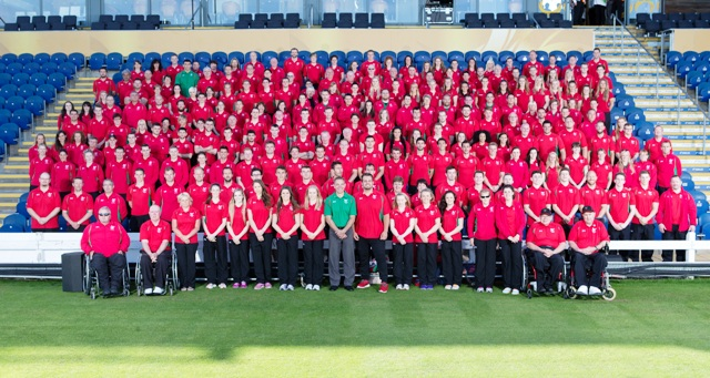 Team captain Aled Davies (front, centre) stands proud as he gets set to lead Wales at next month's Commonwealth Games in Glasgow ©Team Wales