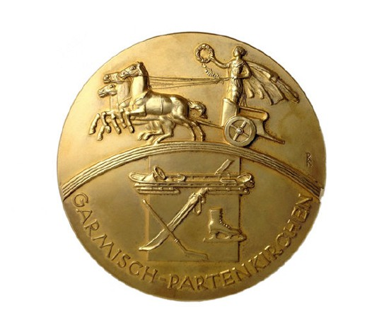 The 1936 Winter Olympic gold medal sold for £30,000 at an auction ©Graham Budd Auctions