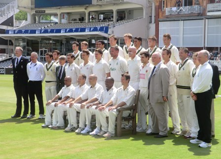 The MCC and Hertfordshire teams pose with MCC President Mike Gatting ahead of their anniversary match ©ITG