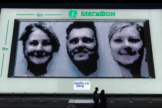 """The MegaFaces Pavillion allowed visitors in Sochi to take """"selfies"""" of themselves and have them uploaded to a giant screen in 3D ©Megafon"""