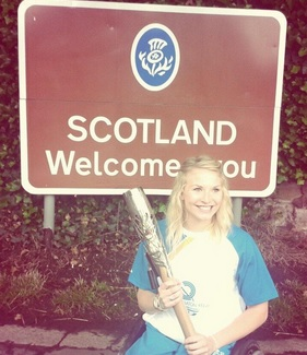 The Queens Baton Relay entered Scotland this morning, carried by Torchbearer Samantha Kinghorn, and will travel north to Edinburgh today ©Twitter