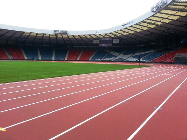 The athletics track at Hampden Park has been laid and is ready to go for the Glasgow 2014 Commonwealth Games ©ITG