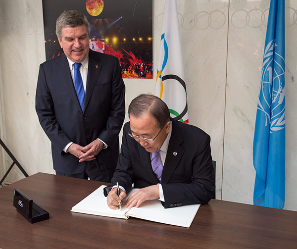 "The meeting came two months after the ""historic agreement"" signed between Thomas Bach and Ban Ki-moon ©IOC"
