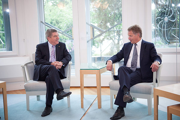 Thomas Bach also met with Finnish President Sauli Niinistö in Helsinki today ©IOC