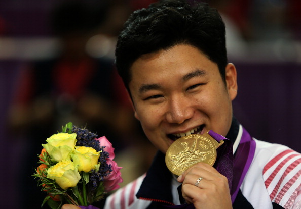 Three time Olympic champion in pistol shooting Jin Jong-oh will be another leading South Korean medal hope ©AFP/Getty Images