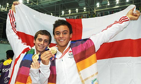 """The Commonwealth Games gives English athletes the opportunity to display their """"Englishness"""", as illustrated at Delhi 201 by divers Tom Daley and Max Brick ©Getty Images"""