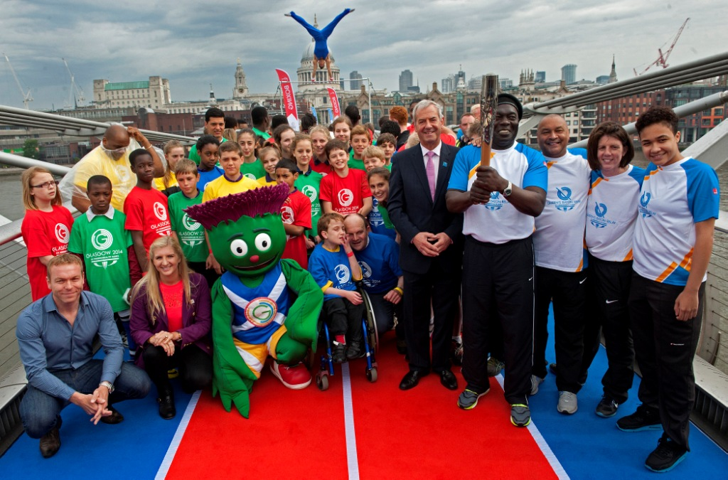 Top British sports stars led celebrations on the Millennium Bridge today to celebrate the countdown for Glasgow 2014 ©Glasgow 2014