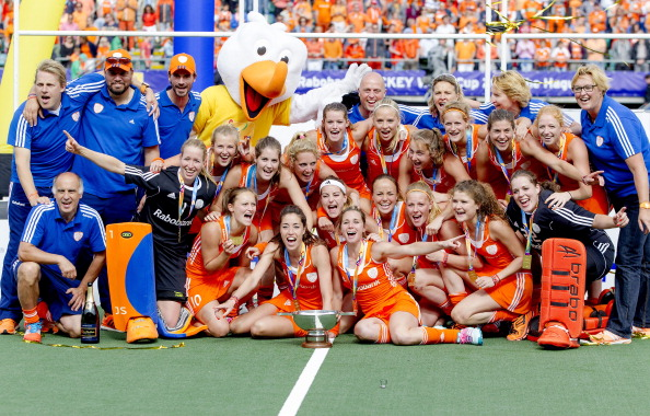 The Dutch women celebrate after winning the Rabobank Hockey World Cup on home ground in The Hague with a 2-0 win over Australia ©AFP/Getty Images