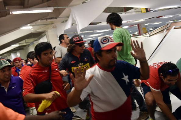 Fans from Chile stormed the media centre at the Estádio Maracanã before their team's match against Spain ©AFP/Getty Images