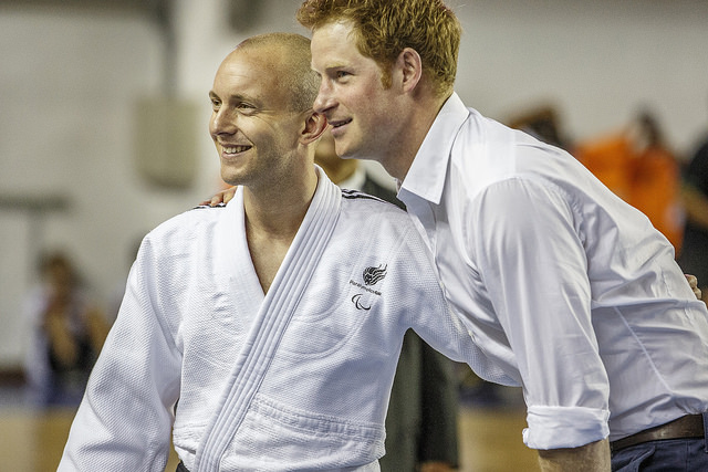 Prince Harry, posing with London 2012 judo bronze medallist Ben Quilter, witnessed the signing of an agreement for Britain's Paralympic team to base themselves in Belo Horizonte before Rio 2016 ©British Embassy