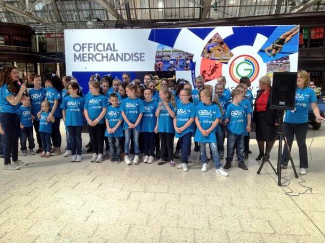 The East40 band performed their UNICEF charity single at Glasgow's Central Station today ©Twitter