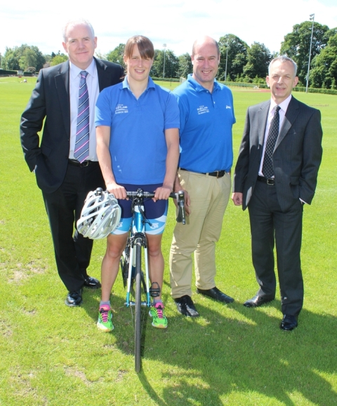Professor Gerry McCormac, Principal and Vice-Chancellor of University of Stirling, triathlete Natalie Milne, Team Scotland Chef de Mission Jon Doig and Peter Bilsborough, director of sports development at the University of Stirling, reveal details of the pre-Games training camp for Glasgow 2014 ©University of Stirling