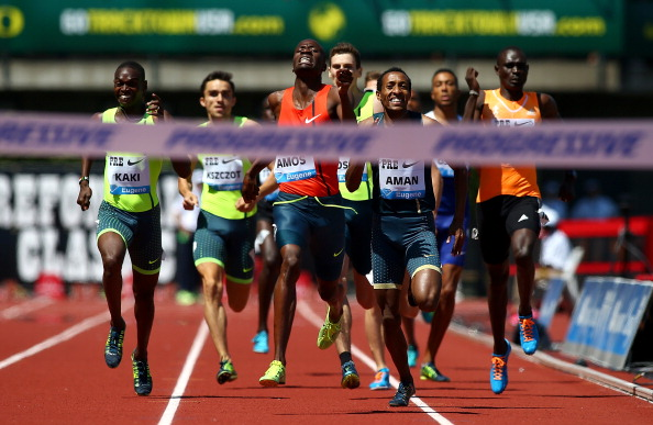 David Rudisha, Kenya's Olympic champion and world record holder (extreme right) fades to seventh in the 800m at the IAAF Diamond League meeting in Eugene, Oregon as Bostwana's Olympic silver medallist Nijel Amos (centre, orange vest) heads for victory ©Getty Images