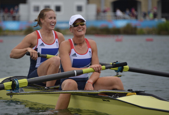 Helen Glover (left) and Heather Stanning, pictured after winning the women's pair at the London 2012 Games, won their first race together since then at the World Cup in France ©Getty Images