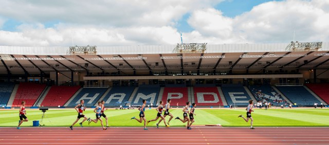 Runners in the Scottish Schools Athletics Championships had the honour of competing on the newly laid track at the Hampden Park ©Glasgow 2014