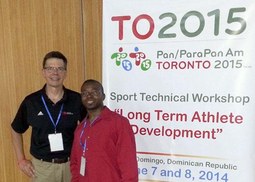 Paul Jurbala (left), course facilitator on the long-term athlete development programme, with Bahamas representative Clarence Rolle ©BOC