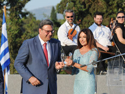 Azerbaijan's First Lady Mehriban Aliyeva, head of Baku 2015, received the Olympic Excellence award from the International Olympic Academy ©Baku2015