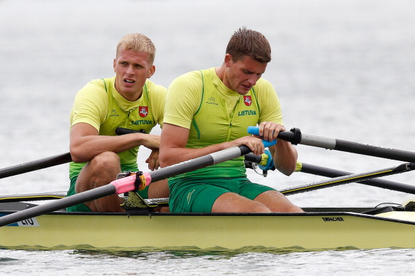 Lithuania's world double sculls silver medallists Rolandas Mascinskas and Saulius Ritter took gold at Belgrade in a race where the Norwegian world champions finished out of the medals ©Getty Images