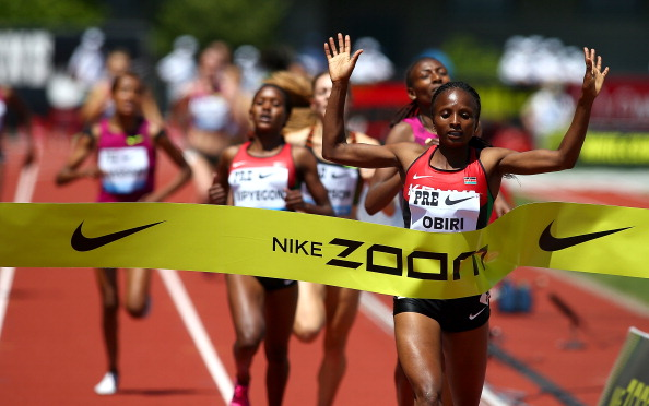 Kenya's Hellen Obiri wins the 1,500m in Eugene, with second placed Abeba Aregawi of Sweden suffering her first defeat in two years ©Getty Images