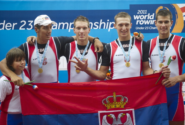 Veslin Savic, pictured right after winning gold in the coxed fours at the World Under 23 Championships of 2011, combined with Dusan Bogicevic to win the men's pairs at the European Rowing Championships in Belgrade ©Getty Images