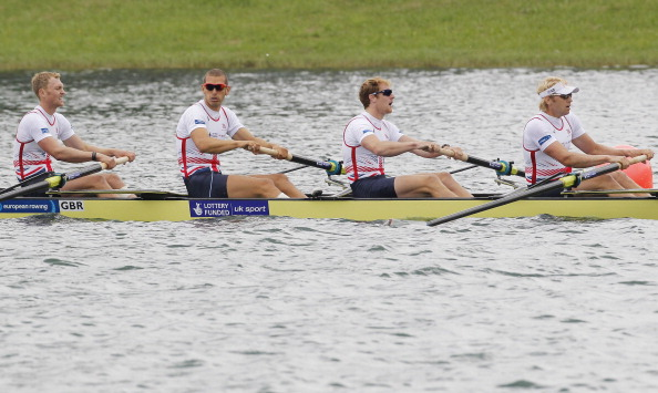 Britain's men's four, pictured after winning the European title earlier this month, qualified fastest to the finals of the World Rowing Cup II in France ©Bongarts/Getty Images