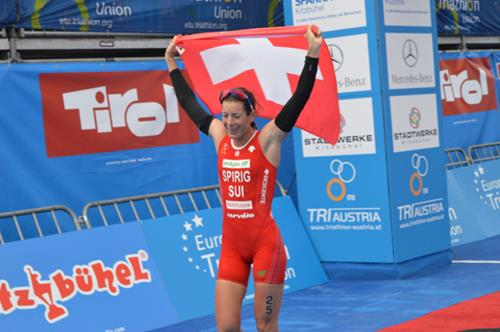 Switzerland's Olympic triathlon champion salutes her fourth European title win in Kitzbuhel ©European Triathlon Union