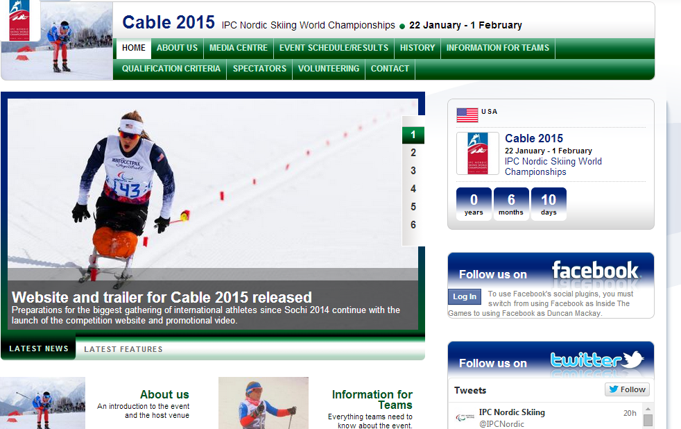 A new website has been launched for the Cable 2015 Nordic Skiing World Championships ©IPC/Cable 2015