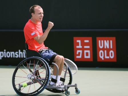 Andy Lapthorne en route to the final of the quad singles at the British Open ©LTA