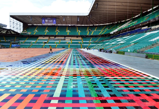 Celtic Park is being readied for the Glasgow 2014 Opening Ceremony next week, which is expected to attract a global TV audience of more than one billion ©Glasgow 2014