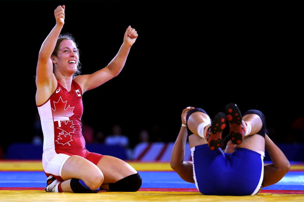 Danielle Lappage of Canada celebrates under 63 kilogram gold ©Getty Images