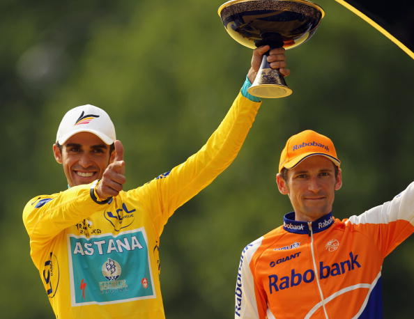 Denis Menchov (right) was promoted into second in the 2010 Tour de France after Alberto Contador (left) was stripped of the win ©Getty Images