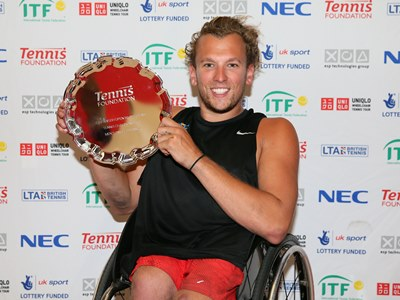 Dylan Alcott upset the home crowd by winning the quad singles title ©James Jordan/Tennis Foundation