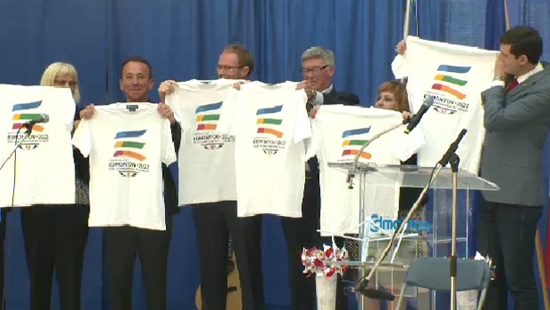 Edmonton Mayor Don Iveson (right) launched the city's logo for its 2022 Commonwealth Games bid, along with chairman Reg Milley ©City of Edmonton