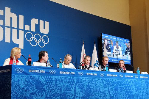 Eli Grimsby, seen here far left during a presentation given by Oslo 2022 during Sochi 2014, believes the Norwegian public have been scared by the reported $51 billion that the Russians spent on those Winter Olympics ©Oslo 2022