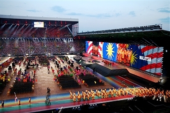 An extravaganza of music and dance helped launch the Glasgow 2014 Commonwealth Games in Celtic Park tonight ©Getty Images