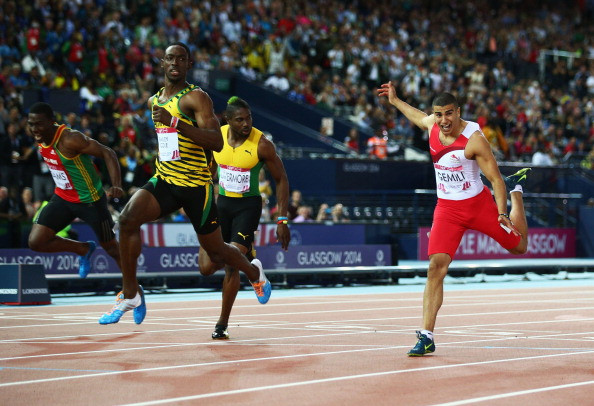 Bailey-Cole looks supremely comfortable as he crosses the line to win 100m gold ©Getty Images