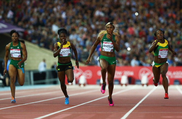 Blessing Okagbare speeds to gold over 100m ©Getty Images