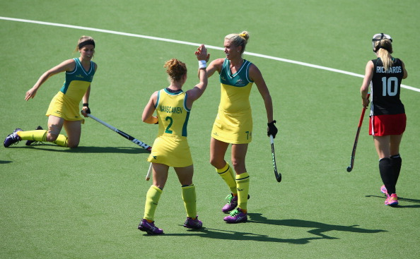 Celebrating was the order of the day for Australia in their 9-0 hockey win ©Getty Images