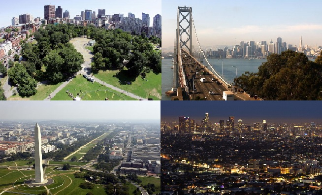 Clockwise (from top left) Boston, San Francisco, Washington D.C. and Los Angeles ©Getty Images