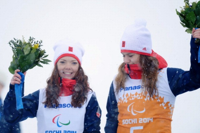 Etherington and Powell won three silver and one bronze in Alpine skiing events at the Sochi 2014 Paralympic Games ©Getty Images